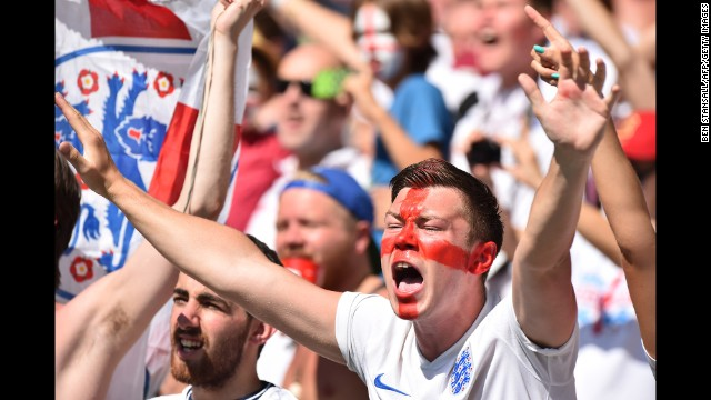 England supporters cheer for their team before the match against Costa Rica.