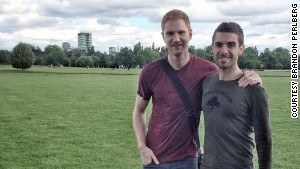 Brandon Perlberg, right, abandoned his life in New York to be with his fiance, Benn Storey, a British citizen.