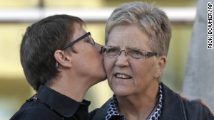 Kody Partridge, left, and Laurie Wood were among the original plaintiffs challenging Utah\'s ban on same-sex marriage.