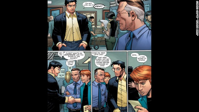 We get our first look at Romita's Clark Kent on page 10.