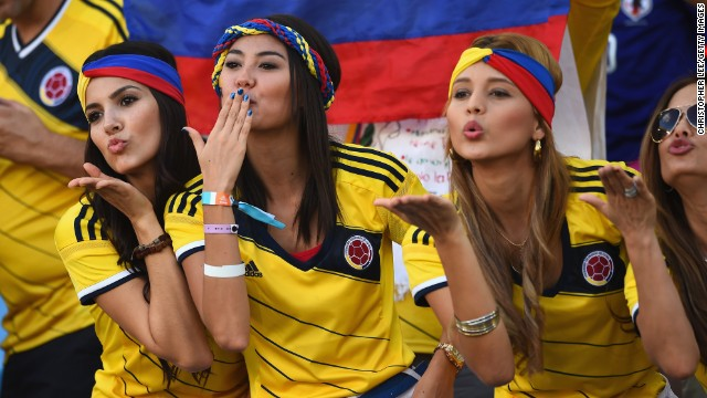 Colombia fans blow kisses during the game against Japan.