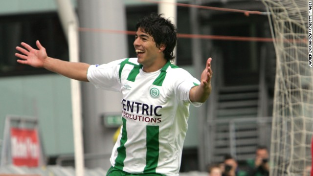 Suarez celebrates a goal during a match between Utrecht and Groningen at Utrecht, Netherlands, in 2007.