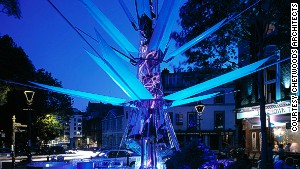Urban Oasis, another eco-design by Chetwoods Architects, is meant to mimic a growing flower. It collects light, water and wind as energy and serves as a light sculpture at night.