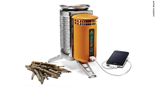 By burning a few sticks, the BioLite CampStove generates enough electricity to charge multiple electronic devices while cooking your beans.