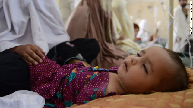 A sick child falls asleep after receiving treatment at the Women and Children Hospital. The United Nations says more facilities are needed to cater for the large numbers of women and children from North Waziristan.