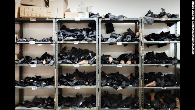 Prosthetic feet are stored at the ICRC's physical rehabilitation center in Najaf, Iraq.