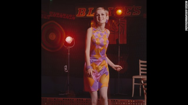 Discotheque dresses -- short, sleeveless numbers that allowed women room to move -- began appearing in the summer of 1964. Model Twiggy wore this version at the Blaises Nightclub in London in 1967.