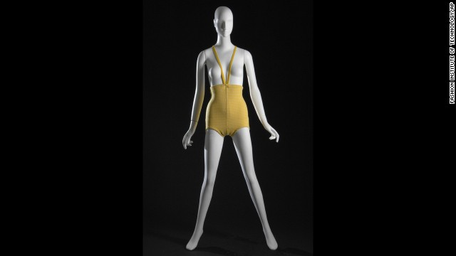 """Avant garde fashion designer Rudi Gernreich's beachwear turned heads in the summer of 1964. His """"monokini,"""" pictured here in yellow and white wool, was a topless suit for women that garnered a moment of high-fashion attention before becoming the stuff of museum exhibitions."""