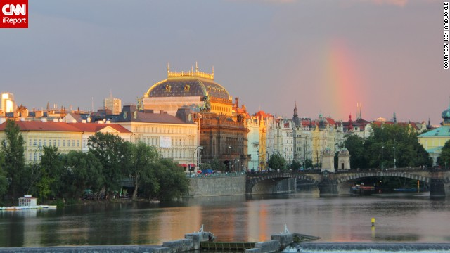 A rainbow appears after a summer shower in Prague, Czech Republic, where <a href='http://ireport.cnn.com/docs/DOC-1145558'>Ken Arbuckle</a> and his wife vacationed in July 2012.