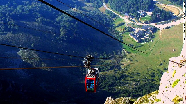The spectacular gorge of Fuente De in the Picos de Europa mountain range is accessible by cable car. Due to the amazing views, lines can get long during peak season.
