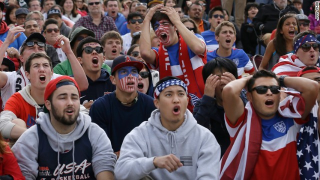 U.S. fans react while watching the United States-Germany match in San Francisco on June 26.