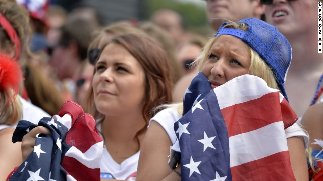 Kelsey Neylon watches the United States play Germany on a giant screen at Chicago's Grant Park.