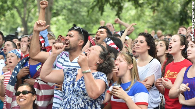Fans watch the Germany match from Dupont Circle in Washington.