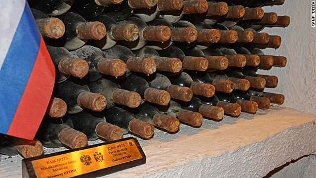 The bottles might be dry and dusty, but handling the Russian president's wine can cause perspiration. A stash of Vladimir Putin's wine sits in the Cricova wine cellar outside Chisinau, capital of little-visited Moldova.