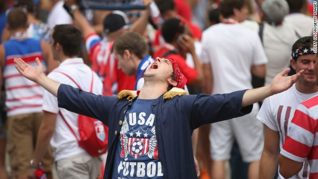 Fans in Chicago's Grant Park celebrate June 26 after learning that the U.S. team would advance to the next round of the World Cup.