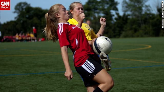 You can see the intensity and determination on these women's faces as they <a href='http://ireport.cnn.com/docs/DOC-1135702'>battle for the ball</a> in a Westchester County, New York, soccer league.