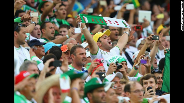 Algeria fans cheer before the match between Algeria and Russia.