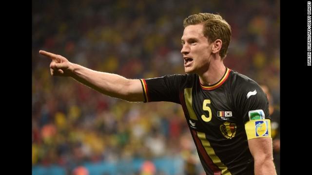 Belgium defender and captain Jan Vertonghen celebrates after scoring.