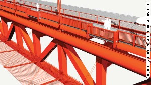 An artist\'s rendering from the proposal shows the orange barrier extending from the structure below deck.