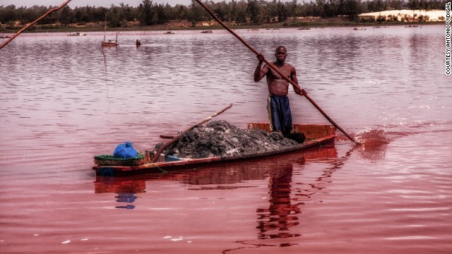 "Lake Retba, in Senegal, is known as the ""Pink Lake."" It is becoming one of Senegal's most popular tourist destinations."