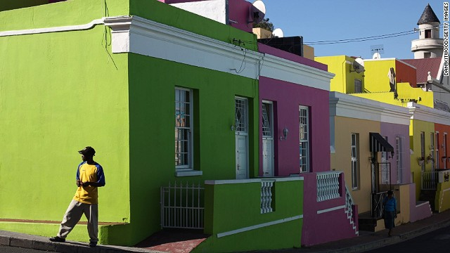 """We live in the technology age where people expect to exchange information instantly,"" says Ebrahim about his reasoning for creating a tour where visitors can go online while being driven to the next destination. Seen here is the Bo Kaap district of Cape Town, famous for its colorful houses."