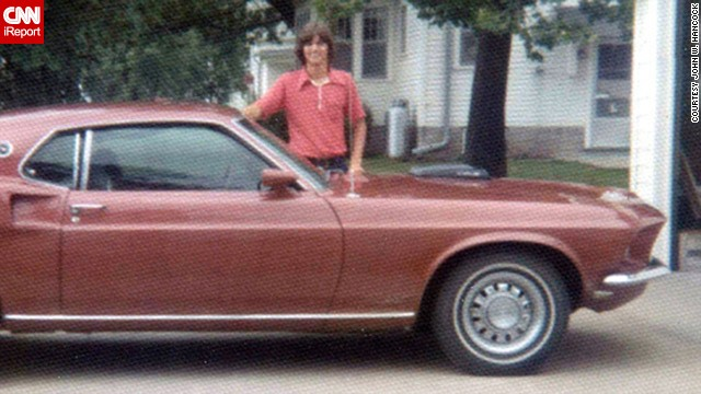"When <a href='http://ireport.cnn.com/docs/DOC-1142236'>John Hancock</a> turned 18, he bought this 1969 Ford Mustang. He loved it because it was ""very, very fast."" Here he is standing with his car in Donnellson, Iowa, in July 1973."