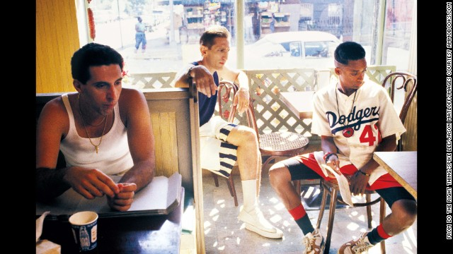 Sal's son Pino (Turturro) has a tense relationship with Mookie (Lee). His other son, Vito (Richard Edson), is friendly with the delivery man. Still, the trio's conversation often resolves nothing and highlights the gulf between them.