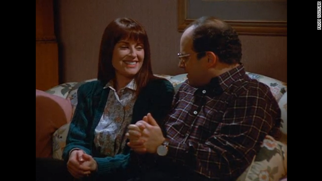 "<strong>Megan Mullally</strong> actually appeared in the same debut episode as Teri Hatcher, titled ""The Implant,"" playing George's girlfriend Betsy. In the episode, Betsy's aunt dies and George flies to the funeral, buying an expensive plane ticket (which he hopes to later get discounted). But it all goes wrong when Betsy's brother catches George double dipping a chip (""I mean you might as well put your whole mouth in the dip"") and Betsy breaks up with George. To make matters worse, George can't get a discount on his flight because he can't give a death certificate to the airline. Four years later, TV viewers embraced Mullally as Karen Walker in ""Will & Grace."""