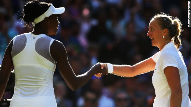 Venus Williams shakes hands with Petra Kvitova after going out in a three-set thriller on Centre Court.