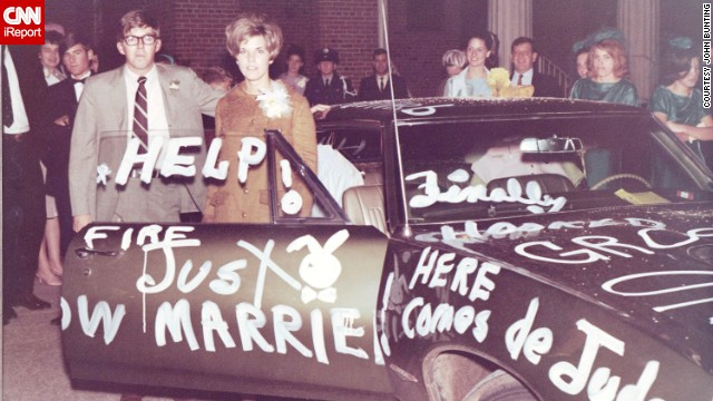 <a href='http://ireport.cnn.com/docs/DOC-1148014'>John Bunting</a> was lucky enough to own a few cars as a young man in the '60s, beginning when he was in high school. Here, Bunting and his wife Judy stand beside the decorated Pontiac on their wedding night, in 1968. He bought it brand-new that year for $4,200.<!-- --> </br>