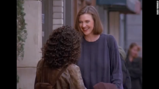 "<strong>Brenda Strong</strong> appears in several episodes throughout the series as Elaine's arch nemesis since high school. Strong plays Sue Ellen Mischke, who never wears a bra. Elaine is so obsessed that Sue Ellen doesn't wear a bra that she gives her one as a gift, which Sue Ellen then wears down the street as a shirt, which causes Kramer to crash Jerry's car because they're so distracted watching her. Seven years later, Brenda Strong played the character that drove the entire plot line of ""Desperate Housewives,"" Mary Alice Young."