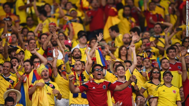 Colombia fans cheer before the game in Rio de Janeiro.