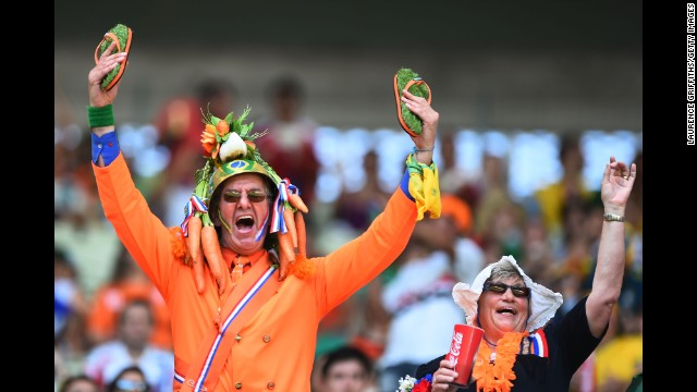 Fans of the Netherlands cheer at Castelao Stadium in Fortaleza, Brazil, before the game.