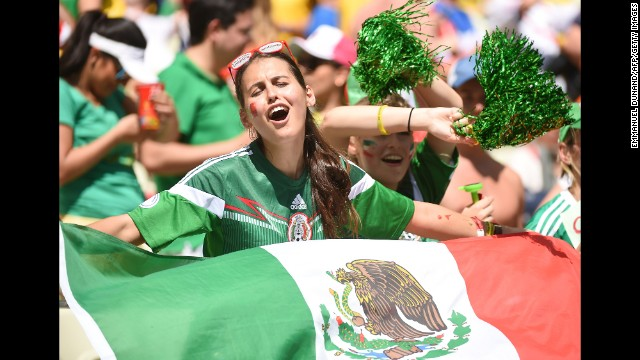 Mexican supporters cheer for their team before the game. <a href='http://www.cnn.com/2014/06/28/football/gallery/world-cup-0628/index.html' target='_blank'>See the best World Cup photos from June 28.</a>