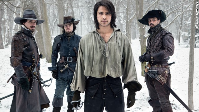 "If you need to get your swashbuckling fix, tune in to ""The Musketeers,"" airing now on BBC America. From left, It's Aramis (Santiago Cabrera) Athos (Tom Burke), D'Artagnan (Luke Pasqualino) and Porthos (Howard Charles) in a new take on Alexander Dumas' classic novel, ""The Three Musketeers."""