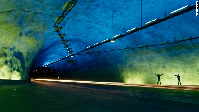 The world's longest road tunnel, Norway's Lærdal Tunnel has features designed to alleviate claustrophobia and tiredness. <strong>Length: </strong>24.5 kilometers