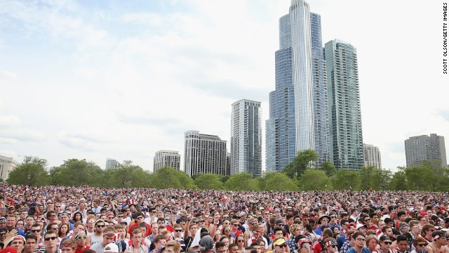 Fans gather in Chicago to watch the Group G game between the U.S. and Portugal. It became the most-watched soccer match in American history, attracting over 25 million television viewers according to the Nielsen figures.