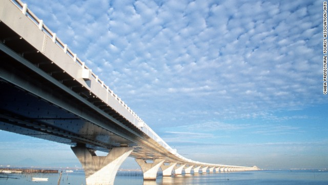 Tokyo Bay's Aqua-Line might look like a bridge but that's because a small part of the entire structure, which comprises a 4.4-kilometer bridge and a 9.6-kilometer underwater tunnel, is visible above the water. <strong>Length: </strong>14 kilometers total