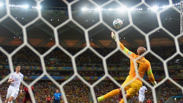 Tim Howard makes a sensational save to deny Portugal. The Everton goalkeeper was one of the key performers for the U.S. during the group stage.