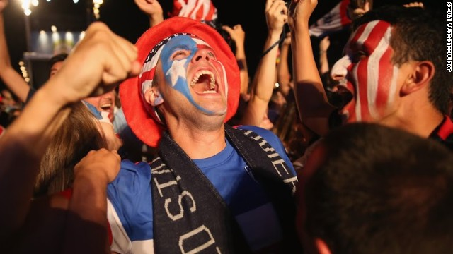 Fans in the Fan Fest zones celebrate Jones' equalizing strike against Portugal. U.S. supporters were second-only to Brazil when it came to the amount of tickets bought for games, with over 196,000 sold to American fans.
