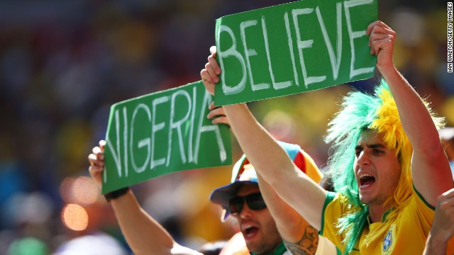 Nigeria supporters cheer before the start of the match.