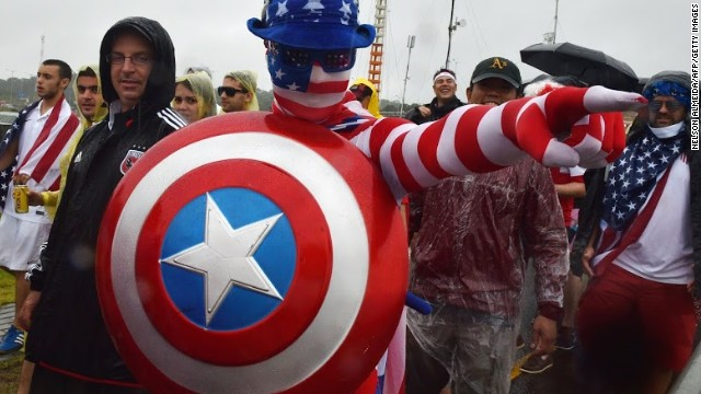 "This U.S. fan takes on the spirit of the well-known comic character ""Captain America"" to support the team."