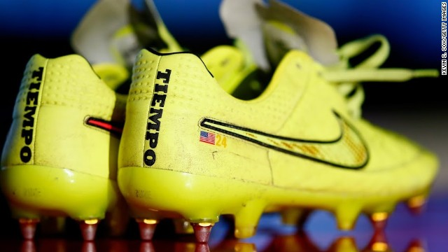 Howard's football boots worn by the American goalkeeper against Germany. The game broke online audience records as over 1.5 million people streamed the game live via WatchESPN.
