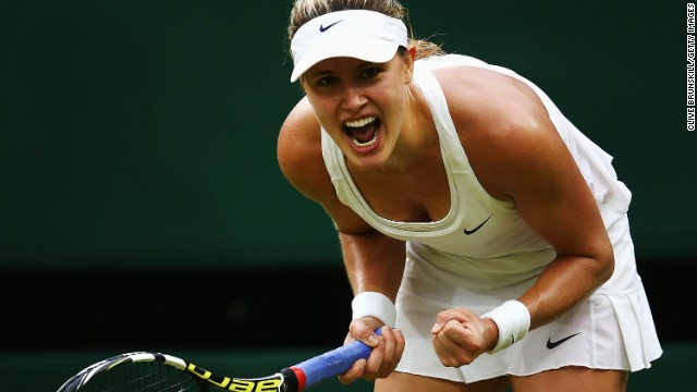 Eugenie Bouchard booked her place in the quarterfinals of Wimbledon after defeating France's Alize Cornet on Monday.
