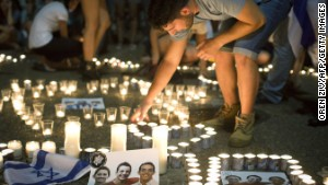 Israelis in Tel Aviv mourn the deaths of three teenagers.