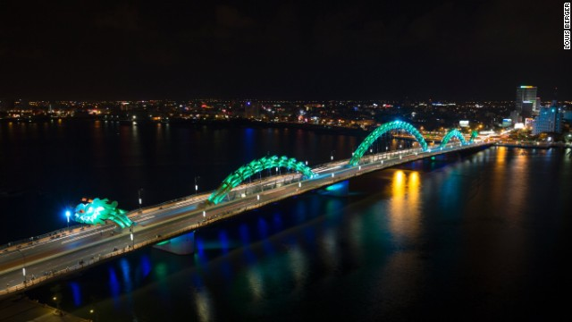 The bridge is lit with thousands of dynamic LEDs at night.