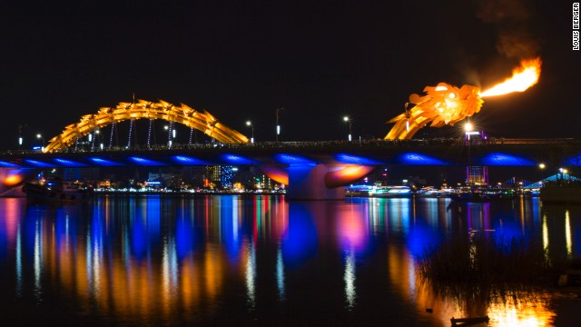Located in the Vietnamese city of Da Nang, the U.S.-designed Rong Cao (Dragon Bridge) puts on fire-breathing shows every weekend.