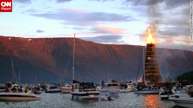 The summer solstice bonfire known as Slinningsbålet is an old tradition in Ålesund, Norway, in which pallets are stacked over 100 feet high and then set on fire.