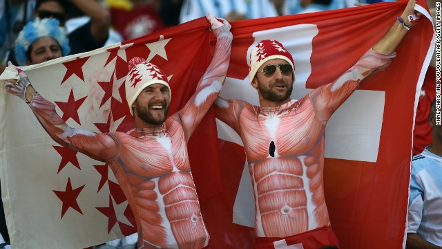 Switzerland fans cheer before the match. <a href='http://www.cnn.com/2014/06/30/football/gallery/world-cup-0630/index.html'>See the best World Cup photos from June 30</a>