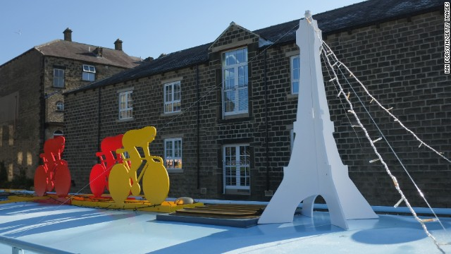 Canal boats at the Skipton Waterway Festival in England are decorated in honor of this year's Tour de France.